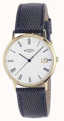 Rotary Mens 9ct Gold Case Strap Watch GS11476/01