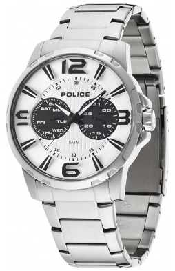 Police Men's Stainless Steel White Dial Visionary Watch 14100JS/01M