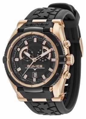 Police Men's Raptor Black & Gold Plate Watch 14215JSRB/02