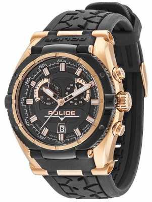 Police Mens Raptor Black & Gold Plate Watch 14215JSRB/02