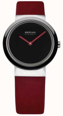 Bering Time Ladies Ceramic Red Calfskin Watch 10729-642