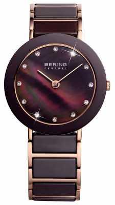 Bering Time Ladies Brown and Rose Gold Ceramic 11435-765