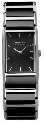 Bering Womens Black Ceramic, Steel, Rectangle Dial 30121-742