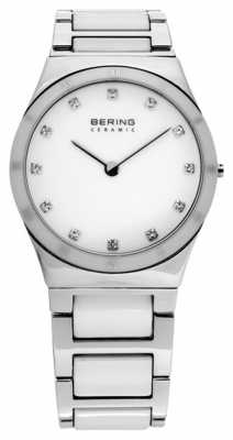 Bering Womens, Steel, White Ceramic, Crystal Watch 32230-764