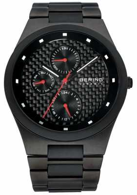 Bering Mens Ceramic Black Carbon Fibre Multi Dial Watch 32339-782