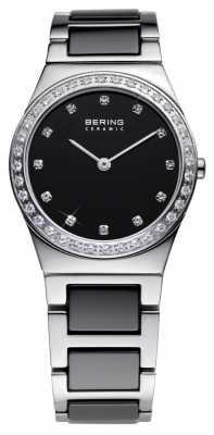 Bering Womens Black Ceramic, Steel, Crystal Watch 32430-742