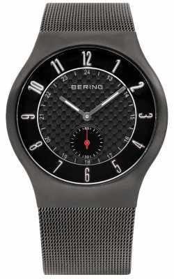 Bering Mens Radio Controlled Grey IP Steel Black Dial Watch 51940-077-UK