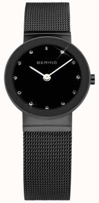 Bering Womens Black IP Steel, Black Dial, Crystal 10126-077