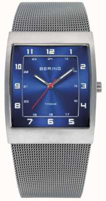 Bering Mens Steel, Square Blue Dial Watch 11233-078