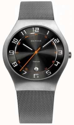 Bering Mens Titanium Black Dial Mesh Strap Watch 11937-007
