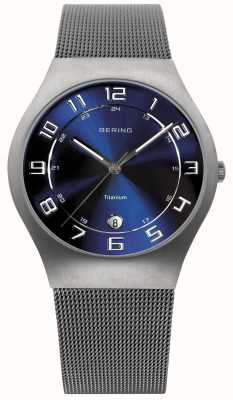 Bering Mens Titanium Blue Dial Mesh Strap Watch 11937-078