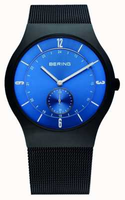 Bering Mens Black, Slim, Blue Dial Watch 11940-227