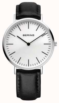 Bering Mens Classic, Steel, White Dial, Calfskin 13738-404