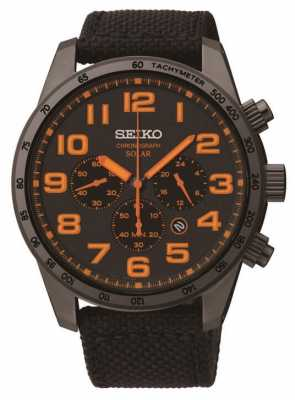 Seiko Men's Black IP Steel Orange Detail Canvas Strap Watch SSC233P9