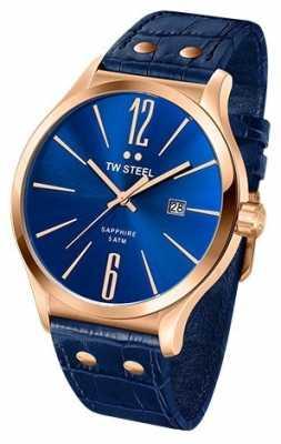 TW Steel Mens Slim Line Blue & Rose Gold Watch TW1305