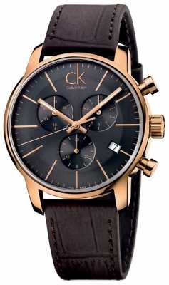 Calvin Klein Men's Rose Gold Black Dial Brown Leather City Chronograph K2G276G3