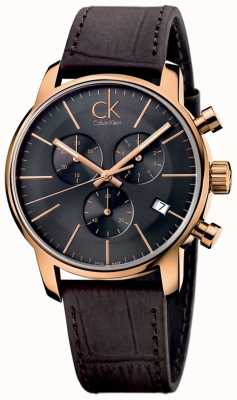 Calvin Klein Mens Rose Gold Black Dial Brown Leather City Chronograph K2G276G3