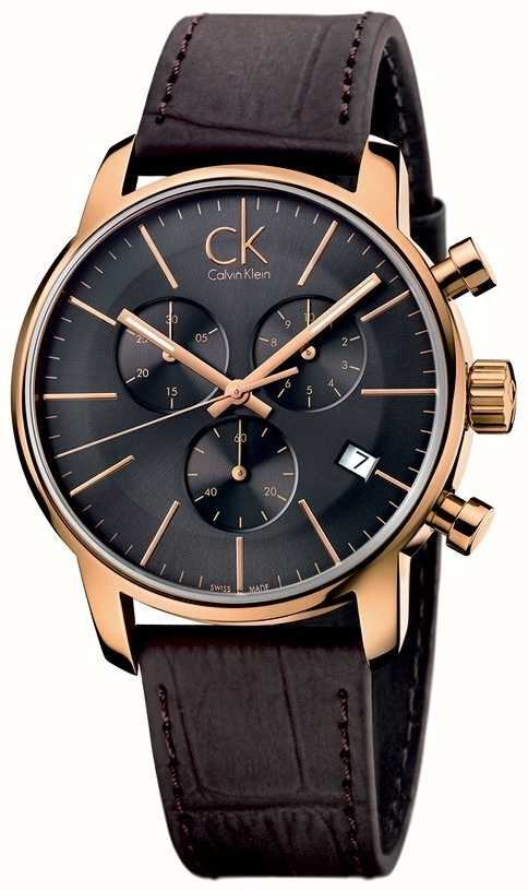3d41830766 Calvin Klein Mens Rose Gold Black Dial Brown Leather City ...