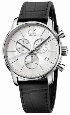 Calvin Klein Men's Stainless Steel & Black Silver Dial City Chronograph K2G271C6