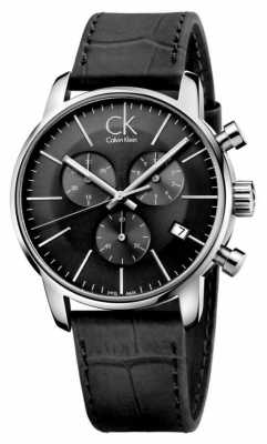 Calvin Klein Men's Black & Stainless Steel Leather Strap Watch K2G271C3