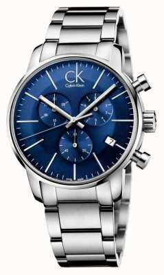 Calvin Klein Mens Stainless Steel Blue Dial City Chronograph K2G2714N