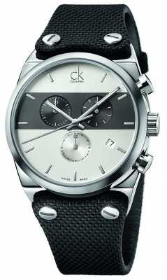 Calvin Klein Mens Eager Stainless Steel Black Canvas Strap Watch K4B371B6
