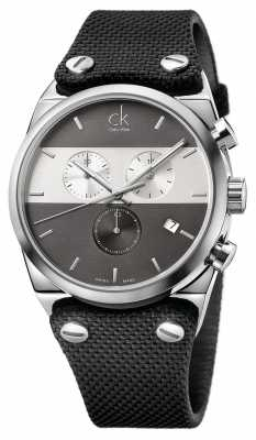 Calvin Klein Men's Eager Stainless Steel Canvas Strap Watch K4B371B3