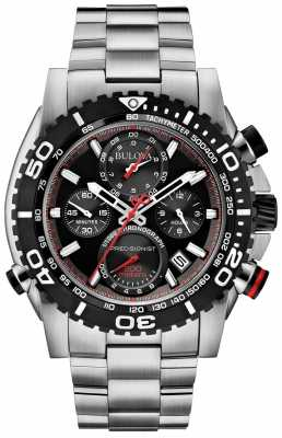 Bulova Mens Precisionist Stainless Steel Black Dial Chrono 98B212