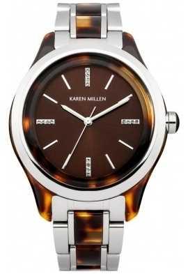 Karen Millen Womens Tortoise Shell, Steel, Crystal Watch KM142TM