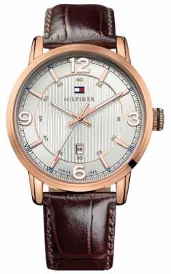 Tommy Hilfiger Mens Silver and Brown George Watch 1710346