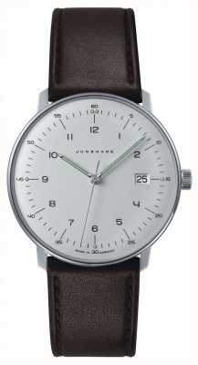 Junghans Mens Max Bill Quartz White Dial Brown Leather Watch 041/4461.00