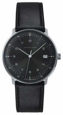 Junghans Mens max bill Quartz Black Dial Black Leather Watch 041/4462.00