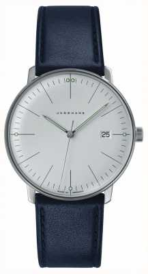 Junghans Mens Max Bill Stainless Steel White Dial Blue Leather 041/4464.00