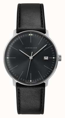 Junghans Men's Max Bill Quartz Plain Black Dial Black Leather Watch 041/4465.04