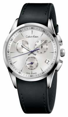 Calvin Klein Men's Bold Stainless Steel Black Leather Strap Watch K5A271C6