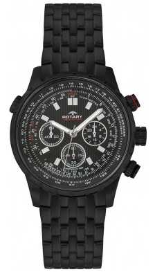 Rotary Mens All Black Steel Chronograph Watch GB00177/04
