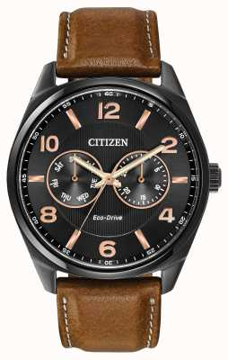 Citizen Mens Eco-Drive Brown Leather Strap Watch AO9025-05E