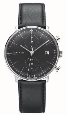 Junghans max bill Chronoscope | Black Leather Strap 027/4601.04