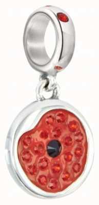 Chamilia Sterling Silver w Stone - Shimmering Poppy - Red Enamel 2025-1155