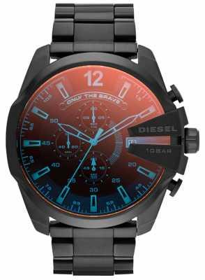 Diesel Mens Mega Chief Black IP Steel Iridescent Watch DZ4318