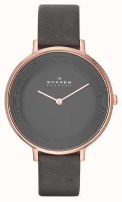 Skagen Ladies Ditte Grey Leather Strap Watch SKW2216