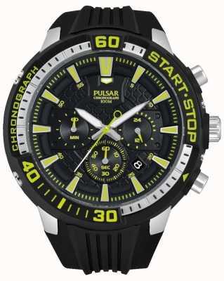 Pulsar Mens X Chronograph Black and Green PT3503X1