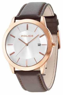 Police Mens Sonaran Brown Leather Strap Watch 14139JSR/04