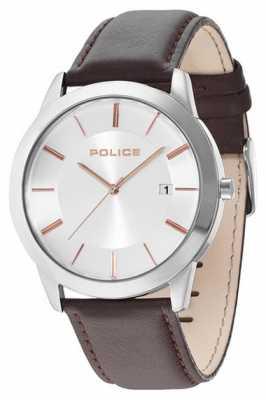 Police Mens Sonaran Brown Leather Strap Watch 14139JS/04