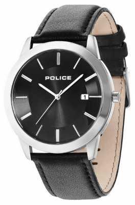 Police Mens Sonaran Black Leather Strap Watch 14139JS/02