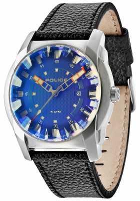 Police Mens Gravity Black Leather Strap Watch 14253JS/61