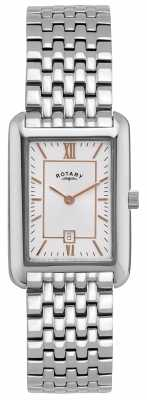 Rotary Womens Steel, Gold Accent, White Dial Watch LB02685/02