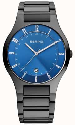 Bering Mens Black Titanium, Blue Dial Watch 11739-727