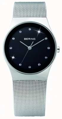 Bering Womens Crystal | Black Dial | Stainless Steel Mesh Strap | 12927-002
