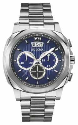 Bulova Mens Stainless Steel Blue Dial Classic Chronograph 96B219